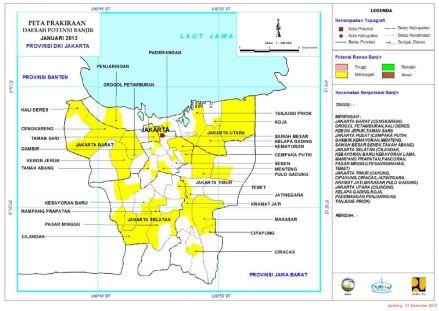 Peta Prakiraan Daerah Potensi Banjir Januari 2013 Provinsi DKI Jakarta (click to see enlarge)