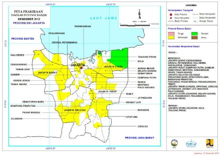Peta Prakiraan Daerah Potensi Banjir Desember 2012 Provinsi DKI Jakarta (click to see enlarge)